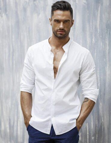 modna męska koszula biała